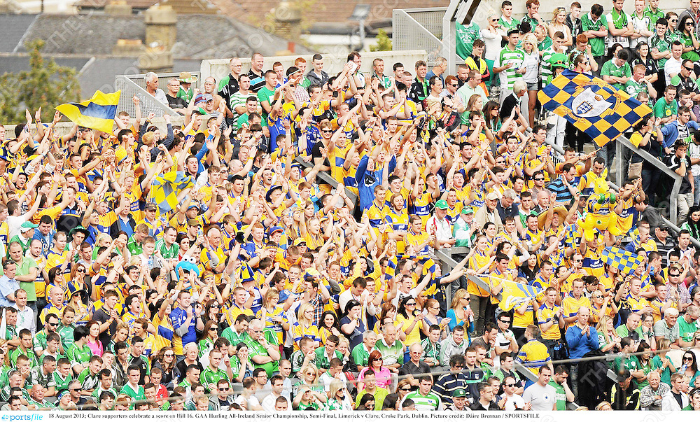 18 August 2013; Clare supporters celebrate a score on Hill 16. GAA Hurling All-Ireland Senior Championship, Semi-Final, Limerick v Clare, Croke Park, Dublin. Picture credit: Dáire Brennan / SPORTSFILE