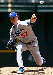 May 3, 2018 - Phoenix, AZ, U.S. - PHOENIX, AZ - MAY 03: Los Angeles Dodgers starting pitcher Alex Wood (57) pitches during the MLB baseball game between the Arizona Diamondbacks and the Los Angeles Dodgers on May 3, 2018 at Chase Field in Phoenix, AZ (Photo by Adam Bow/Icon Sportswire) (Credit Image: © Adam Bow/Icon SMI via ZUMA Press)
