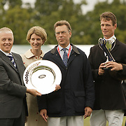 William Fox-Pitt (GBR) receives the Land Rover trophy at the 2007 Land Rover Burghley Horse Trials held in Stamford, England