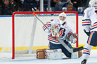 KELOWNA, CANADA - SEPTEMBER 5: Kyle Dumba #45 of the Kamloops Blazers makes a save against the Kelowna Rockets on September 5, 2017 at Prospera Place in Kelowna, British Columbia, Canada.  (Photo by Marissa Baecker/Shoot the Breeze)  *** Local Caption ***
