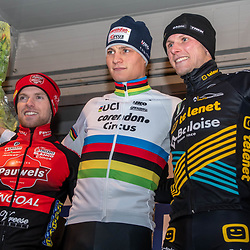 2019-12-27 Cycling: dvv verzekeringen trofee: Loenhout: Mathieu van der Poel wins the Azencross, Eli Iserbyt finished second and Corne van Kessel third