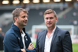 MK Dons Manager Karl Robinson  and Tottenham XI Manager Tim Sherwood  .Photo mandatory by-line: Nigel Pitts-Drake/JMP  - Tel: Mobile:07966 386802 31/07/2013 - MK Dons v  Tottenham XI  - SPORT - FOOTBALL - pre-season - Milton Keynes - Stadium MK