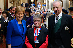 Pictured: The First Minister Nicola Sturgeon, the Right Reverend Susan M. Brown BD DipMin 2018 Moderator and the Lord Commissioner His Grace Richard Walter John Montague Stewart Scott, Duke of Buccleugh and Queensberry, KBE, DL, FSA, FRSE<br /> <br /> The 2018 General Assembly of the Church of Scotland begins.This year's annual gathering runs until Friday May 25<br /> <br /> Ger Harley | EEm 19 May 2018