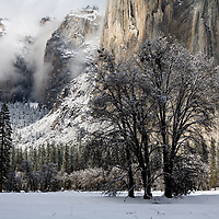 View of El Capitan in winter as the storm clouds were breaking up.