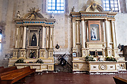 Interior of the San Nicolas Tolentino Temple and Ex-Monastery in Actopan, Hidalgo, Mexico. The colonial church and convent  was built in 1546 and combine architectural elements from the romantic, gothic and renaissance periods.