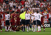 Photo: Chris Ratcliffe.<br /> England v Portugal. Quarter Finals, FIFA World Cup 2006. 01/07/2006.<br /> Wayne Rooney of England  is red carded  by referee Horatio Elizondo.