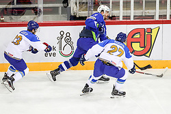 Miha Verlic of Slovenia vs Ivan Kuchin of Kazakhstan during Ice Hockey match between National Teams of Kazakhstan and Slovenia in Round #4 of 2018 IIHF Ice Hockey World Championship Division I Group A, on April 27, 2018 in Arena Laszla Pappa, Budapest, Hungary. Photo by David Balogh / Sportida