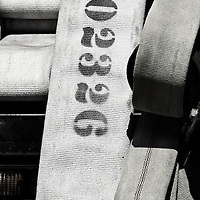 Slightly colorized black and white image of various types of fire hose stored on the back of a Vienna Volunteer Fire Department truck, Vienna, Virginia.