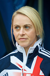 WIGAN, ENGLAND - Sunday, October 18, 2009: Local Wigan girl Jenny Meadows, who won a bronze medal at the Women's 800 metres at the Athletics World Championships in Berlin, before the Premiership match at the JJB Stadium. (Pic by David Rawcliffe/Propaganda)