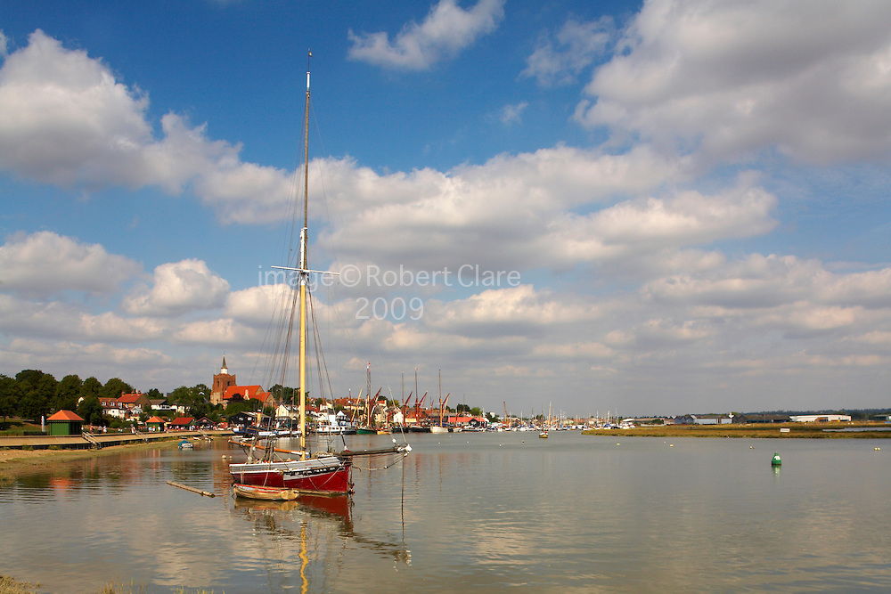 Great Britain England Essex Maldon River Blackwater Hythe Quay Oyster Boat Telegraph Moor in Channel Incomming Tide