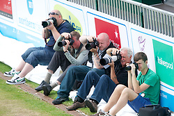 LIVERPOOL, ENGLAND - Friday, June 21, 2013: Photographers during Day Two of the Liverpool Hope University International Tennis Tournament at Calderstones Park. (Pic by David Rawcliffe/Propaganda)