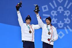 CHALENCON_Anthony, Guide:  VALVERDE_Simon,  ParaBiathlon, Biathlon 15km, Podium during the PyeongChang2018 Winter Paralympic Games, South Korea.