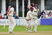 Wicket - Steve Davies of Somerset celebrates taking the catch to dismiss Dawid Malan of Middlesex off the bowling of Dom Bess of Somerset during the Specsavers County Champ Div 1 match between Somerset County Cricket Club and Middlesex County Cricket Club at the Cooper Associates County Ground, Taunton, United Kingdom on 27 September 2017. Photo by Graham Hunt.