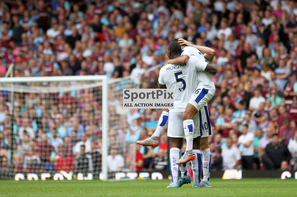 Wes Morgan and Riyad Mahrez celebrate the latters goal During West Ham United vs Leicester City on Saturday the 16th August 2015.