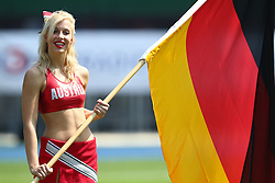 16.07.2011, Ernst Happel Stadion, Wien, AUT, American Football WM 2011, Germany (GER) vs France (FRA), im Bild cheerleader with the german flag // during the American Football World Championship 2011 game, Germany vs France, at Ernst Happel Stadion, Wien, 2011-07-16, EXPA Pictures © 2011, PhotoCredit: EXPA/ T. Haumer