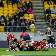TJ Perenara (captain) attempts to catch a loose ball during the Super rugby union game (Round 14) played between Hurricanes v Reds, on 18 May 2018, at Westpac Stadium, Wellington, New  Zealand.    Hurricanes won 38-34.