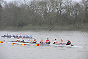 London, Great Britain,  foreground Tideway Scullers School, passed by Newcastle University BC. A as both crews pass Chiswick Pier, during the 2012 Head of the River Race, raced over Rowing Course Championship course,  Mortlake to Putney  4.25 Miles, on the River Thames.   Saturday  03/03/2012} [Mandatory Credit: © Peter Spurrier/Intersport Images]