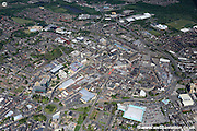 aerial photograph of Barnsley West Yorkshire  England UK. Drone style aerial view of Barnsley  Great Britain