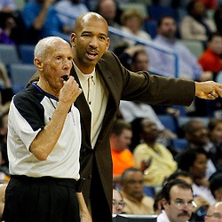 February 2, 2012; New Orleans, LA, USA; New Orleans Hornets head coach Monty Williams argues with referee Dick Bavetta (27) during the second half of a game against the Phoenix Suns at the New Orleans Arena. The Suns defeated the Hornets 120-103.  Mandatory Credit: Derick E. Hingle-US PRESSWIRE