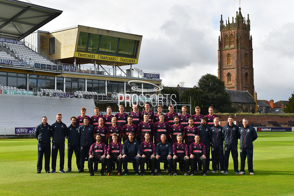 Somerset players (Back row) Dom Bess, Tim Rouse, Eddie Byrome, Ollie Sale, Paul van Meekeren, Nathan Gilchrist, Ben Green, Tom Banton, George Bartlet, Tom Lammonby, Josh Davey, (Middle row) Gary Metcalfe, James Always, Greg Kennis, Steve Snell, Jack Leach, Max Waller, Jack Brooks, Craig Overton, Jamie Overton, Tim Groenewald, Steve Davies, Jamie Thorpe, Joel Tratt, Andrew Griffiths, Paul Tweddle, (Front row) Peter Trego, Tom Abell, Jason Kerr, Lewis Gregory, Andy Hurry, James Hildreth and Roelof van der Merwe pose for their team photo in their Vitality Blast kit during the 2019 media day at Somerset County Cricket Club at the Cooper Associates County Ground, Taunton, United Kingdom on 2 April 2019.
