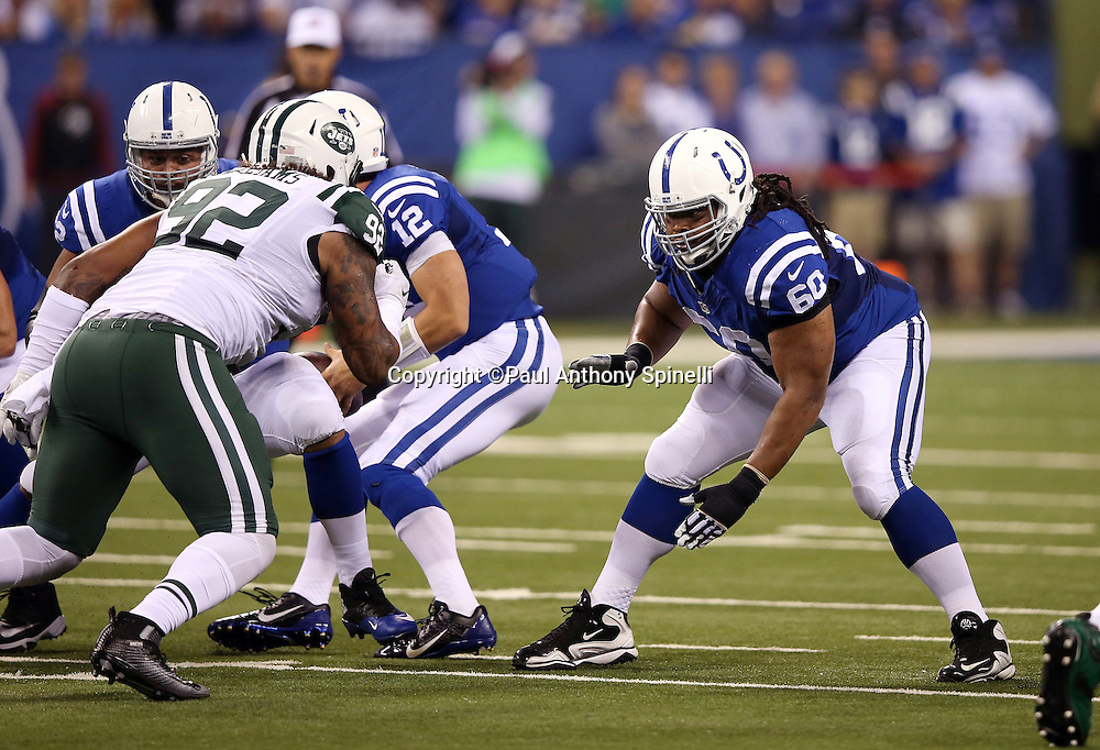 Indianapolis Colts guard Lance Louis (60) pass blocks during the 2015 NFL week 2 regular season football game against the New York Jets on Monday, Sept. 21, 2015 in Indianapolis. The Jets won the game 20-7. (©Paul Anthony Spinelli)