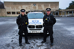 EMBARGOED UNTILL 16:00 14 DECEMBER 2017<br /> <br /> Pictured: Two Armed Firearms Officers with their  Armed Response Vehicle outside Tulliallan Police College<br /> <br /> <br /> Ger Harley   EEm 14 December 2017