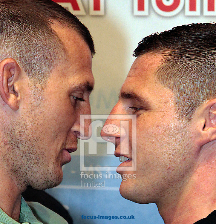 Picture by Richard Gould/Focus Images Ltd +44 7855 403186<br /> 22/06/2013<br /> Drew Mathews (left) &amp; Tommy Coyle square up in a heated face off pictured during a press conference at Hull City Hall.