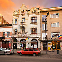 A mystical sunset brings out the twilight colors in Cluj-Napoca, Romania, 2012