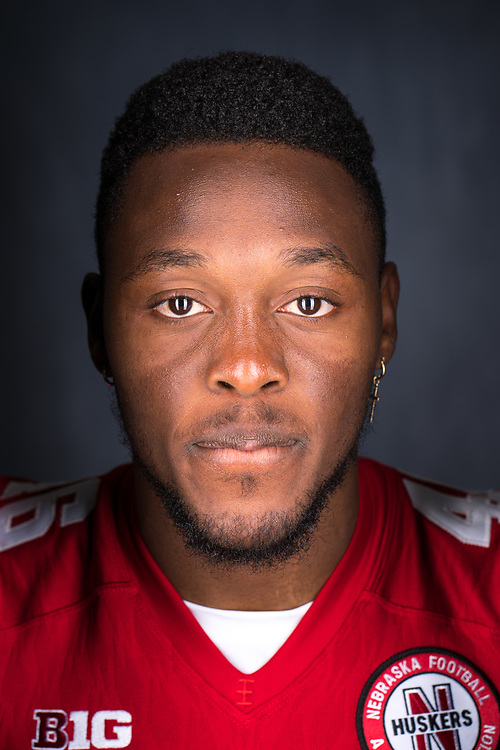 JOSHUA KALU #46, during a portrait session at Memorial Stadium in Lincoln, Neb. on June 7, 2017. Photo by Paul Bellinger, Hail Varsity