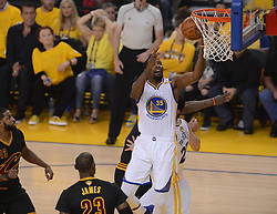 The Golden State Warriors' Kevin Durant (35) goes in for the basket against the Cleveland Cavaliers in the first quarter of Game 5 of the NBA Finals at Oracle Arena in Oakland, Calif., on Monday, June 12, 2017. (Photo by Dan Honda/Bay Area News Group/TNS) *** Please Use Credit from Credit Field ***