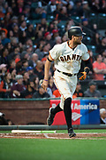 San Francisco Giants right fielder Hunter Pence (8) runs out a hit against the Cincinnati Reds at AT&T Park in San Francisco, California, on May 11, 2017. (Stan Olszewski/Special to S.F. Examiner)