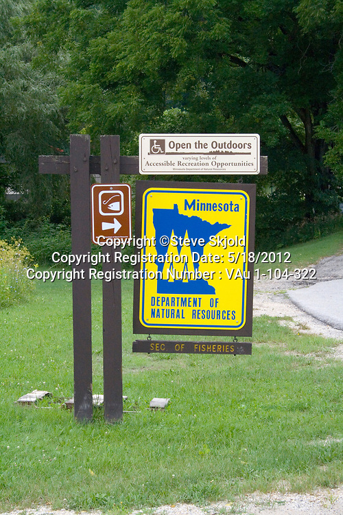 Entrance to Lanesboro State Fish Hatchery for trout under Minnesota Department of Natural Resources. Lanesboro Minnesota MN USA