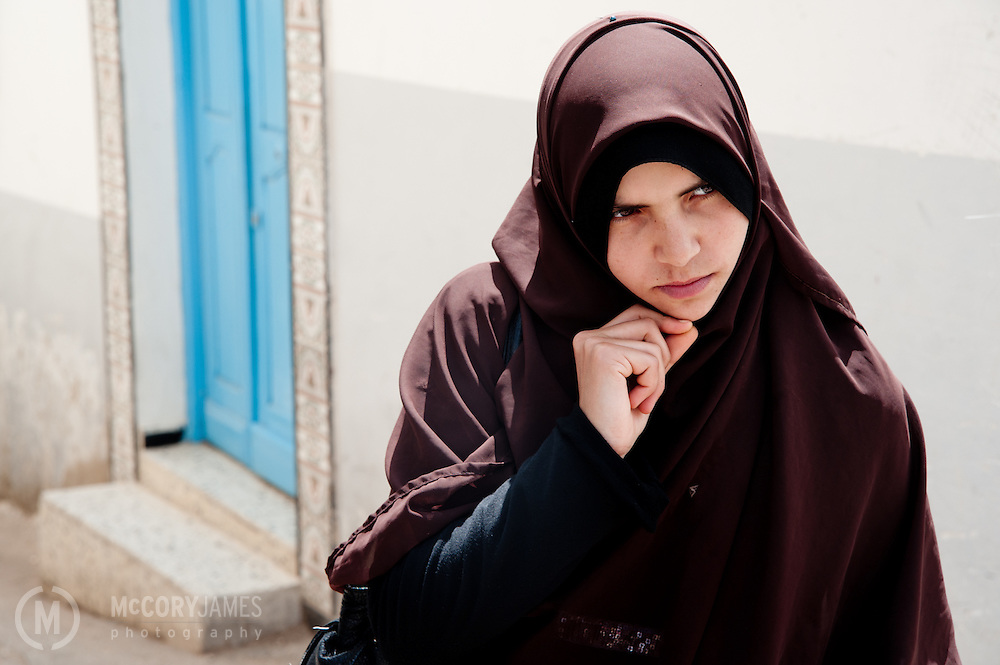 A Muslim woman in conversation in Le Kef, Tunisia