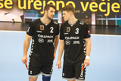 Lucas Meister of Kadetten Schaffhausen and Ron Delhees of Kadetten Schaffhausen during handball match between RK Gorenje Velenje and Kadetten Schaffhausen in VELUX EHF Champions League, on November 25, 2017 in Rdeca Dvorana, Velenje, Slovenia. Photo by Ziga Zupan / Sportida