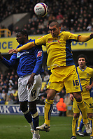 Photo: Tony Oudot/Richard Lane Photography. <br /> Millwall v Leeds United. Coca-Cola League One. 19/04/2008. <br /> Bradley Johnson of Leeds clears from Bas Savage of Millwall