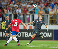 NOVI SAD, SERBIA - Tuesday, September 11, 2012: Wales' David Edwards in action against Serbia during the 2014 FIFA World Cup Brazil Qualifying Group A match at the Karadorde Stadium. (Pic by David Rawcliffe/Propaganda)
