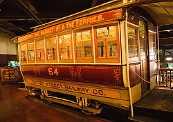California, San Francisco: A historic Cable Car at the Cable Car Museum..Photo #: 4-casanf77908.Photo © Lee Foster 2008