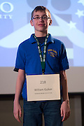 William Gulker of Gahanna Middle School introduces himself during the Columbus Metro Regional Spelling Bee Regional Saturday, March 16, 2013. The Regional Spelling Bee was sponsored by Ohio University's Scripps College of Communication and held in Margaret M. Walter Hall on OU's main campus.