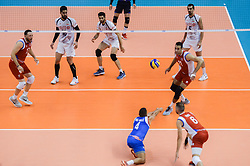 September 12, 2018 - Varna, Bulgaria - Dennis del Valle, Puerto Rico play the ball against Iran, during Iran vs Puerto Rico, pool D, during 2018 FIVB Volleyball Men's World Championship Italy-Bulgaria 2018, Varna, Bulgaria on September 12, 2018  (Credit Image: © Hristo Rusev/NurPhoto/ZUMA Press)