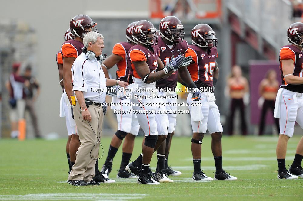 19 September 2009: Virginia Tech head coach Frank Beamer with spacial teams during the Hokies 16-15 win over the Nebraska Huskers at Worsham Field at Lane Stadium in Blacksburg, VA