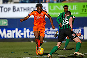 Luton Town midfielder Pelly-Ruddock Mpanzu on the ball ahead of the challenge from Coventry City defender Dominic Hyam (15) during the EFL Sky Bet League 1 match between Luton Town and Coventry City at Kenilworth Road, Luton, England on 24 February 2019.