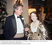 Lord Valentine Cecil and the  Marchioness of Salisbury. Charity Ball. 22/5/97. Film 97206f7a<br />