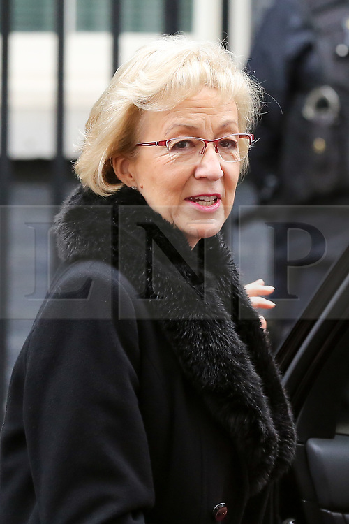 "© Licensed to London News Pictures. 18/12/2018. London, UK. Andrea Leadsom - Lord President of the Council and Leader of the House of Commons departs from No 10 Downing Street after attending the weekly Cabinet Meeting that discussed the preparations for a ""No Deal"" Brexit. Photo credit: Dinendra Haria/LNP"
