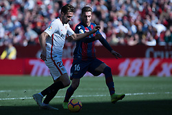 January 26, 2019 - Sevilla, Andalucia, Spain - Franco Vazquez of Sevilla FC and Rochina of Levante UD competes for the ball during the La Liga match between Sevilla FC v Levante UD at the Ramon Sanchez Pizjuan Stadium on January 26, 2019 in Sevilla, Spain  (Credit Image: © Javier MontañO/Pacific Press via ZUMA Wire)
