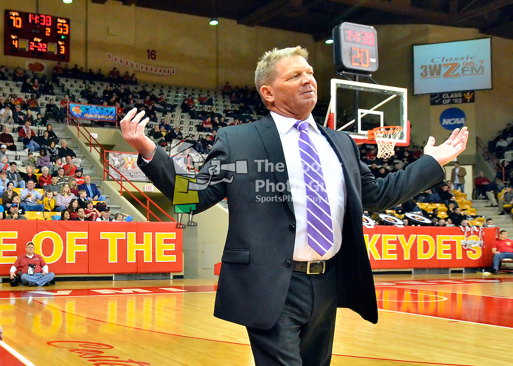 NCAA Men's Basketball: Duggar Baucom shrugs as he leads VMI to his 117th win, becoming the winning coach in VMI basketball history, as VMI defeats Longwood 94-80 in season finale.