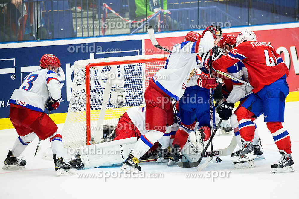 Ken Andre Olimb of Norway and Patrick Thoresen of Norway vs Sergei Plotnikov of Russia, Sergei Bobrovski of Russia and Dmitri Kulikov of Russia during Ice Hockey match between Russia and Norway at Day 1 in Group B of 2015 IIHF World Championship, on May 1, 2015 in CEZ Arena, Ostrava, Czech Republic. Photo by Vid Ponikvar / Sportida
