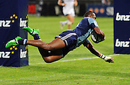 Blues winger Joe Rokocoko dives as he scores a try. Investec Super Rugby, Blues v Rebels at North Harbour Stadium, Auckland, New Zealand. Good Friday 22 April 2011. Photo: Andrew Cornaga / photosport.co.nz