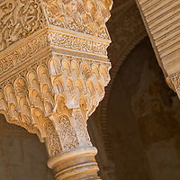 Alberto Carrera, Decorated Columns, Nazaries Palaces, La Alhambra, UNESCO World Heritage Site, Granada, Andalucía, Spain, Europe