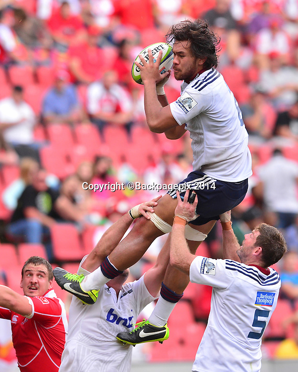 Steven Luatua of the Blues during the Super Rugby match between the Lions and the Blues at Ellis Park in Johannesburg, South Africa on March 15, 2014 ©Barry Aldworth/BackpagePix
