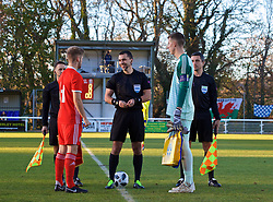 BANGOR, WALES - Saturday, November 17, 2018: Wales' captain Ryan Reynolds and Sweden's captain goalkeeper Samuel Brolin with referee Dumitri Muntean during the coin toss before the UEFA Under-19 Championship 2019 Qualifying Group 4 match between Sweden and Wales at the Nantporth Stadium. (Pic by Paul Greenwood/Propaganda)